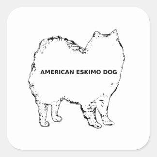 American Eskimo white name silo Square Sticker