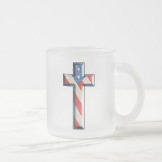 American Faith Cross 10 Oz Frosted Glass Coffee Mug