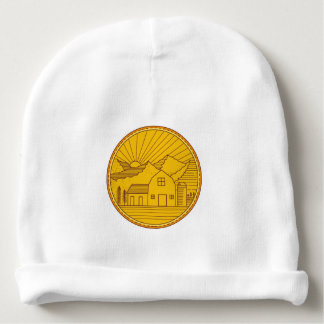 American Farm Barn House Mountain Circle Mono Line Baby Beanie