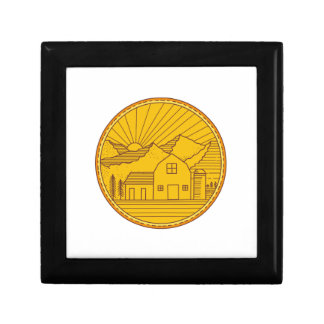 American Farm Barn House Mountain Circle Mono Line Gift Box