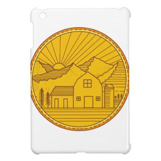American Farm Barn House Mountain Circle Mono Line iPad Mini Cases