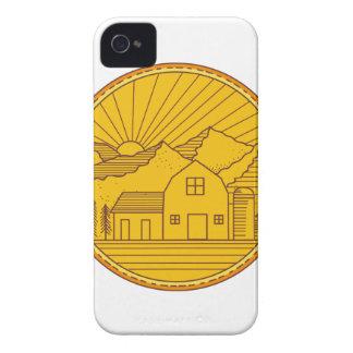 American Farm Barn House Mountain Circle Mono Line iPhone 4 Cases