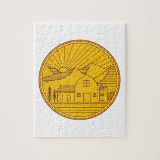 American Farm Barn House Mountain Circle Mono Line Jigsaw Puzzle