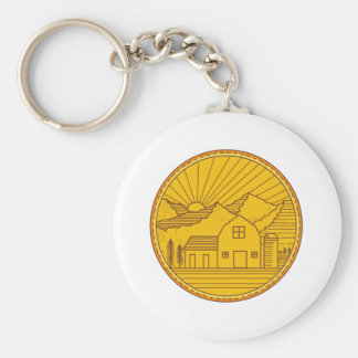 American Farm Barn House Mountain Circle Mono Line Keychain