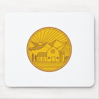American Farm Barn House Mountain Circle Mono Line Mouse Pad