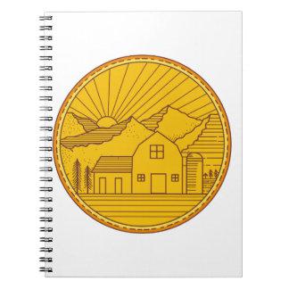 American Farm Barn House Mountain Circle Mono Line Notebook
