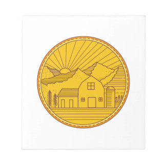 American Farm Barn House Mountain Circle Mono Line Notepad