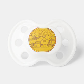 American Farm Barn House Mountain Circle Mono Line Pacifier