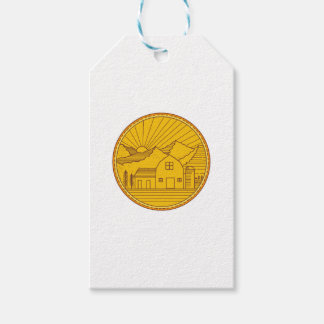 American Farm Barn House Mountain Circle Mono Line Pack Of Gift Tags