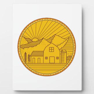 American Farm Barn House Mountain Circle Mono Line Plaque