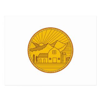 American Farm Barn House Mountain Circle Mono Line Postcard
