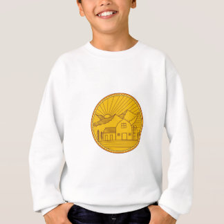 American Farm Barn House Mountain Circle Mono Line Sweatshirt