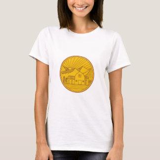 American Farm Barn House Mountain Circle Mono Line T-Shirt