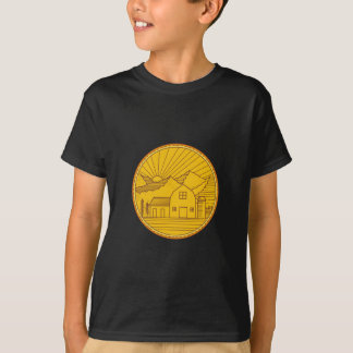 American Farm Barn House Mountain Circle Mono Line T-Shirt