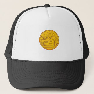 American Farm Barn House Mountain Circle Mono Line Trucker Hat
