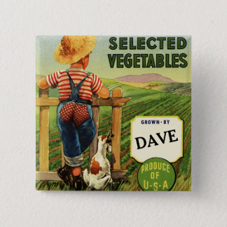 American Farmboy on Fence 2 Inch Square Button