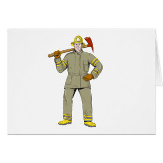 American Firefighter Fire Axe Drawing Card
