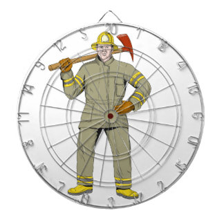American Firefighter Fire Axe Drawing Dartboard