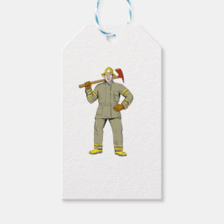 American Firefighter Fire Axe Drawing Gift Tags