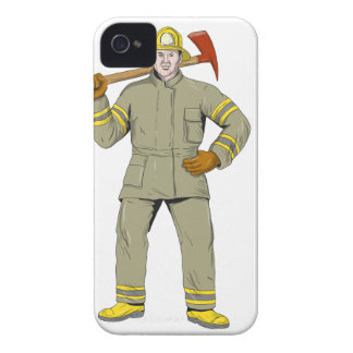 American Firefighter Fire Axe Drawing iPhone 4 Cases