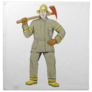 American Firefighter Fire Axe Drawing Napkin