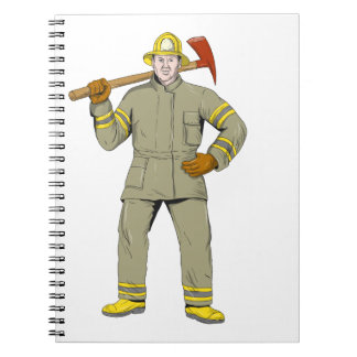 American Firefighter Fire Axe Drawing Notebook
