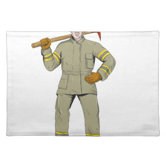 American Firefighter Fire Axe Drawing Placemat