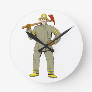 American Firefighter Fire Axe Drawing Round Clock