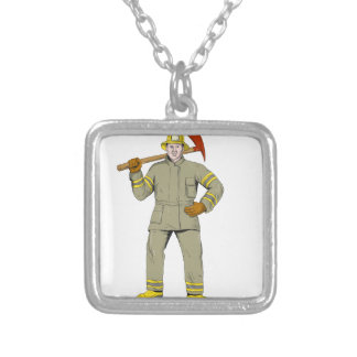 American Firefighter Fire Axe Drawing Silver Plated Necklace
