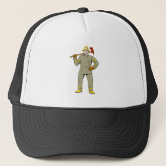 American Firefighter Fire Axe Drawing Trucker Hat