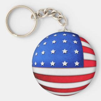 American flag 3d globe effect key chain