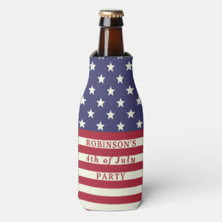 American Flag 4th of July Stars and Stripes Custom Bottle Cooler