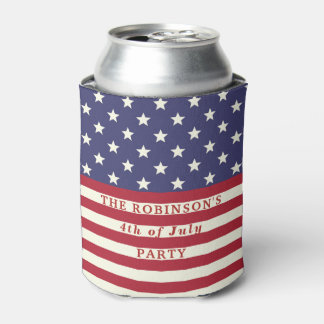 American Flag 4th of July Stars and Stripes Custom Can Cooler