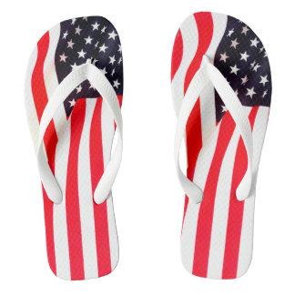 American Flag Adult, Wide Strap Flip Flips Flip Flops