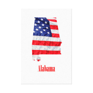 American Flag Alabama United States Canvas Print