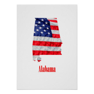 American Flag Alabama United States Poster