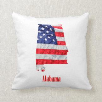 American Flag Alabama United States Throw Pillow
