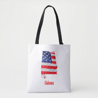 American Flag Alabama United States Tote Bag