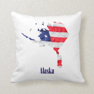 American Flag Alaska United States Throw Pillow