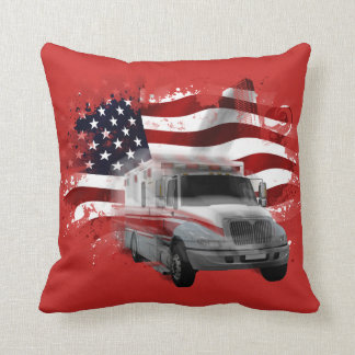 American Flag Ambulance EMT Paramedic Responders Throw Pillow