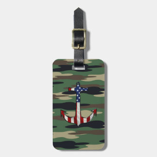 American Flag Anchor on Camo Luggage Tag