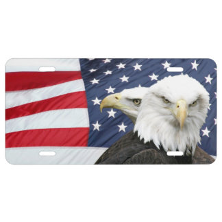 American flag and bald eagles license plate