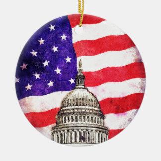 American Flag And Capitol Building Round Ceramic Ornament