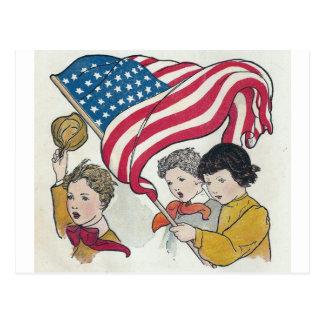 American Flag and Children Postcard