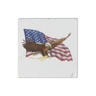 American Flag and Eagle Stone Magnets