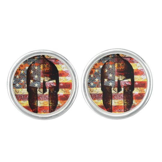 American Flag And Spartan Helmet On Rusted Metal Cuff Links