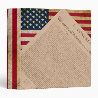 American Flag and the Declaration 3 Ring Binder