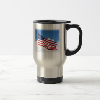 American flag and the travel stein