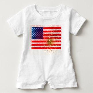American Flag Baby Romper