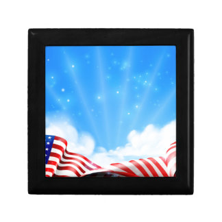 American Flag Background Gift Box